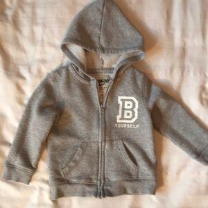 Osh Kosh grey sparkly hoodie with B yourself logo